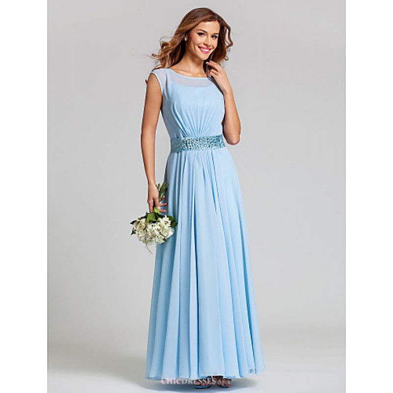 Ankle length chiffon stretch satin bridesmaid dress for Blue wedding dresses plus size