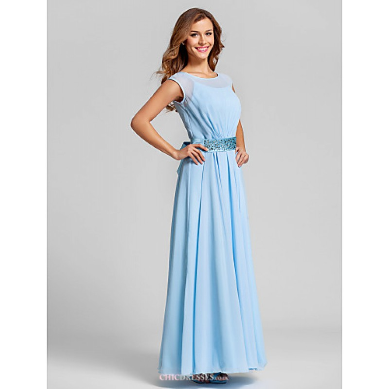 e609a686f70db ... Ankle-length Chiffon   Stretch Satin Bridesmaid Dress - Sky Blue Plus  Sizes   Petite ...