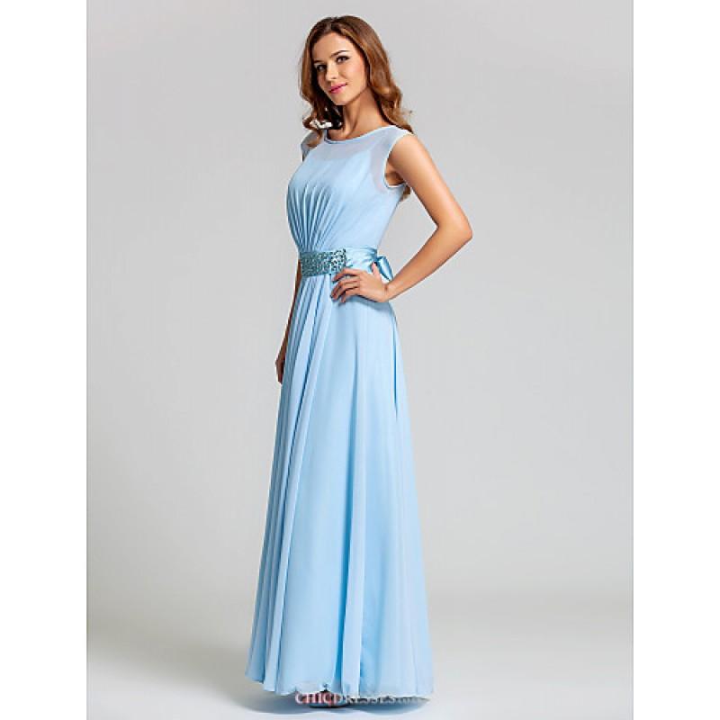 Ankle-length Chiffon / Stretch Satin Bridesmaid Dress