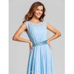 Ankle-length Chiffon / Stretch Satin Bridesmaid Dress - Sky Blue Plus Sizes / Petite A-line Scoop Bridesmaid Dresses
