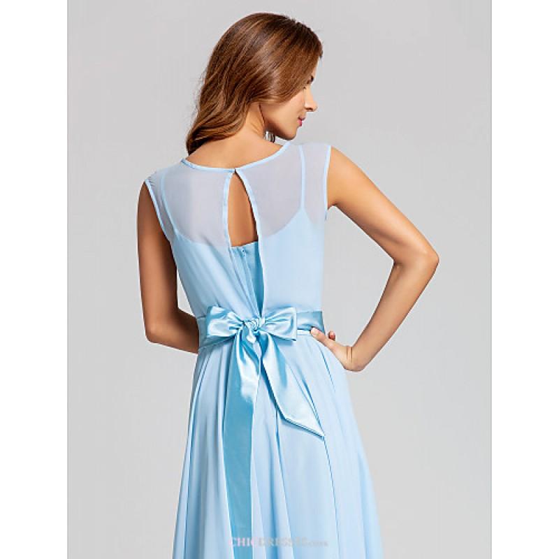 a27a28a429a87 ... Ankle-length Chiffon   Stretch Satin Bridesmaid Dress - Sky Blue Plus  Sizes   Petite ...