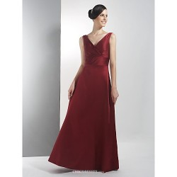Floor Length Satin Bridesmaid Dress Burgundy Plus Sizes Petite A Line V Neck