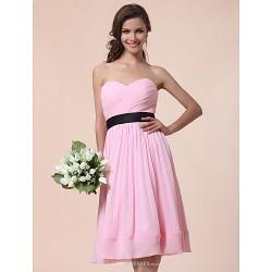 Knee Length Chiffon Bridesmaid Dress Blushing Pink Plus Sizes Petite A Line Princess Strapless Sweetheart