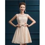 Short/Mini Lace Bridesmaid Dress - Ruby / White / Champagne A-line Jewel Bridesmaid Dresses