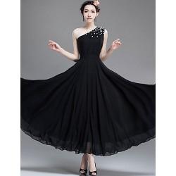 Ankle Length Chiffon Bridesmaid Dress Black A Line One Shoulder