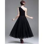 Ankle-length Chiffon Bridesmaid Dress - Black A-line One Shoulder Bridesmaid Dresses