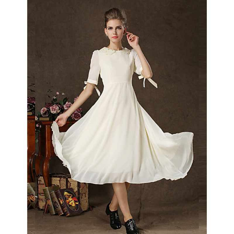 Cheap White Wedding Dress Uk: Tea-length Chiffon / Lace Bridesmaid Dress