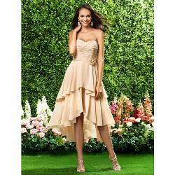 Asymmetrical Knee Length Chiffon Bridesmaid Dress Champagne Plus Sizes Petite A Line Princess Sweetheart Strapless