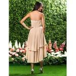 Asymmetrical / Knee-length Chiffon Bridesmaid Dress - Champagne Plus Sizes / Petite A-line / Princess Sweetheart / Strapless Bridesmaid Dresses