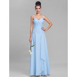 Floor Length Chiffon Bridesmaid Dress Sky Blue Plus Sizes Petite Sheath Column Spaghetti Straps
