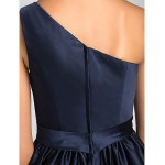 Short/Mini Satin Bridesmaid Dress - Dark Navy Plus Sizes / Petite A-line / Princess One Shoulder Bridesmaid Dresses