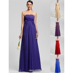 Floor Length Chiffon Bridesmaid Dress Regency Royal Blue Ruby Champagne Grape Plus Sizes Petite Sheath Column Strapless