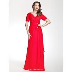 Floor Length Chiffon Bridesmaid Dress Ruby Plus Sizes Petite Sheath Column V Neck