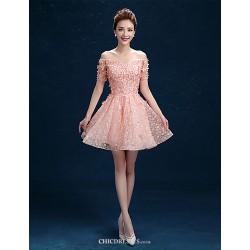 Short Mini Lace Bridesmaid Dress Lilac Pearl Pink A Line Off The Shoulder