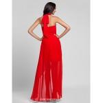 Asymmetrical / Floor-length Chiffon Bridesmaid Dress - Ruby Plus Sizes / Petite A-line / Princess Halter Bridesmaid Dresses