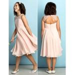 Knee-length Chiffon Junior Bridesmaid Dress - Pearl Pink A-line Scoop Junior Bridesmaid Dresses