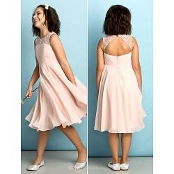 Knee Length Chiffon Junior Bridesmaid Dress Pearl Pink A Line Scoop