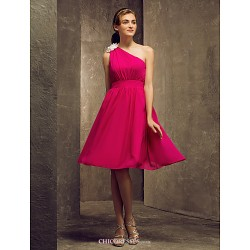 Knee Length Chiffon Bridesmaid Dress Fuchsia Plus Sizes Petite A Line One Shoulder