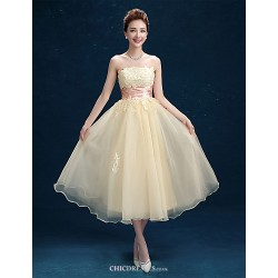 Tea Length Tulle Bridesmaid Dress Champagne A Line Strapless