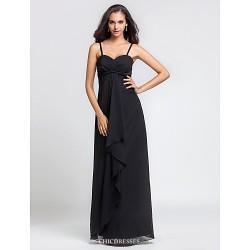 Floor Length Chiffon Bridesmaid Dress Black Plus Sizes Petite Sheath Column Spaghetti Straps Sweetheart