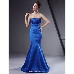 Floor Length Satin Bridesmaid Dress Royal Blue Plus Sizes Petite Trumpet Mermaid Strapless