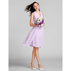 Knee Length Chiffon Bridesmaid Dress Lilac Plus Sizes Petite Sheath Column Halter