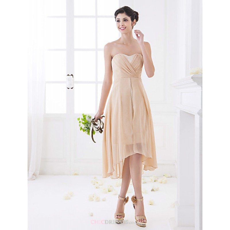 Asymmetrical chiffon bridesmaid dress champagne plus for Wedding dresses petite sizes