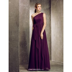 Floor-length Chiffon Bridesmaid Dress - Grape Plus Sizes / Petite Sheath/Column One Shoulder