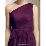 Floor-length Chiffon Bridesmaid Dress - Grape Plus Sizes / Petite Sheath/Column One Shoulder Bridesmaid Dresses