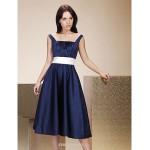 Tea-length Satin Bridesmaid Dress - Dark Navy Plus Sizes / Petite A-line / Princess Straps / Square Bridesmaid Dresses