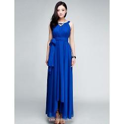 Asymmetrical Chiffon Bridesmaid Dress Burgundy Royal Blue Dark Green A Line Jewel