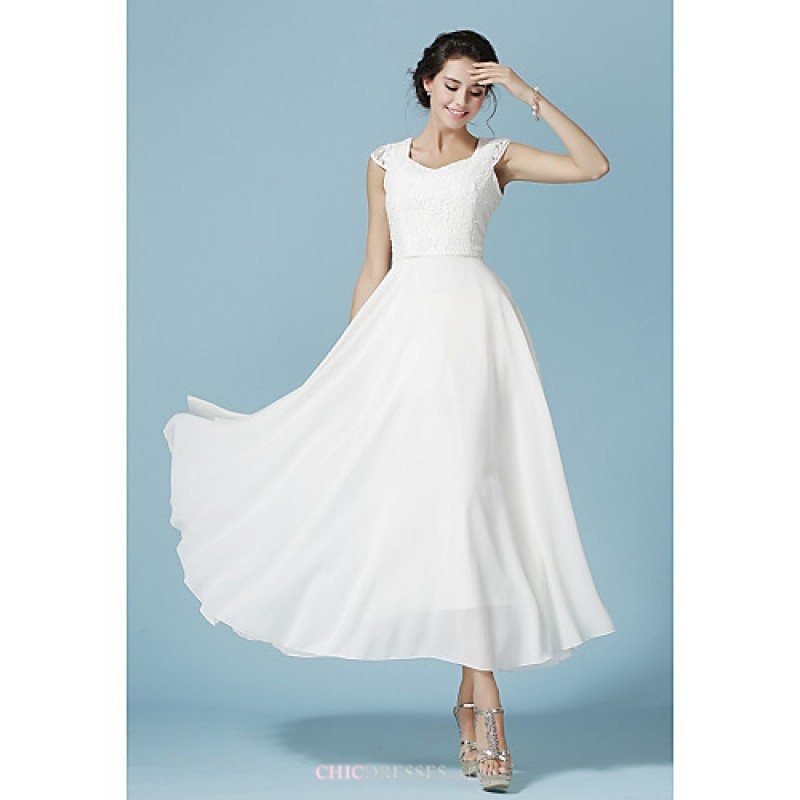 Ankle Length Chiffon Lace Bridesmaid Dress White A