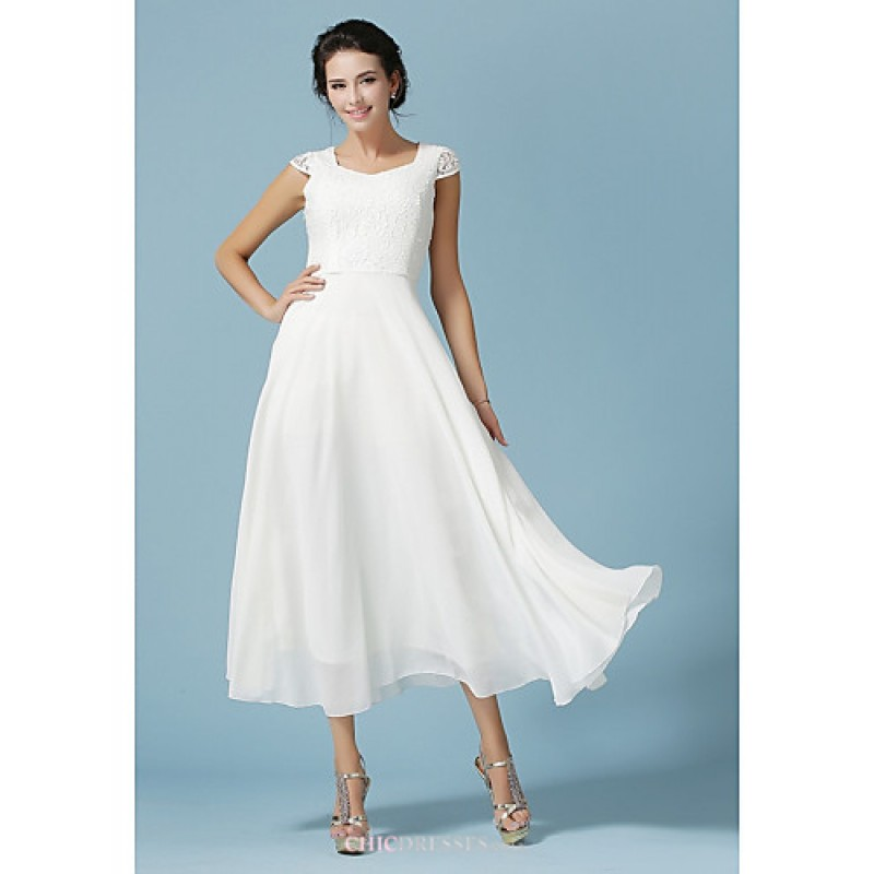 Ankle length chiffon lace bridesmaid dress white a for Lace ankle length wedding dress