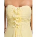 Asymmetrical / Knee-length Chiffon Bridesmaid Dress - Daffodil / Royal Blue / Ruby / Champagne / Grape Plus Sizes / Petite A-line Bridesmaid Dresses