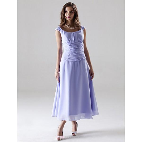 Tea-length Chiffon Bridesmaid Dress - Lavender Plus Sizes / Petite A-line / Princess Off-the-shoulder Bridesmaid Dresses