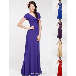Floor Length Georgette Bridesmaid Dress Regency Royal Blue Ruby Champagne Grape Plus Sizes Petite Sheath Column Cowl