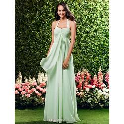 Floor-length Chiffon Bridesmaid Dress - Sage / Royal Blue / Ruby / Champagne / Grape Plus Sizes / Petite Sheath/Column Halter / Sweetheart