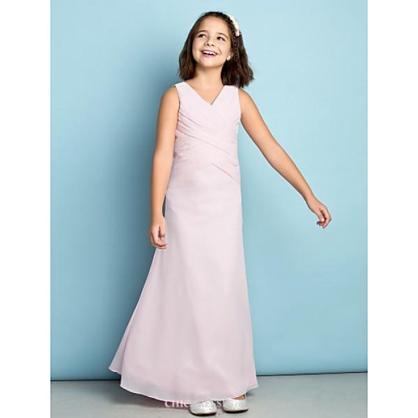 Ankle-length Chiffon Junior Bridesmaid Dress - Blushing Pink Sheath/Column V-neck Junior Bridesmaid Dresses