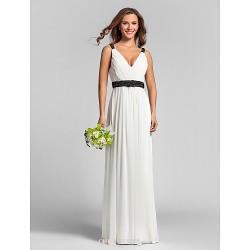 Floor Length Georgette Bridesmaid Dress Ivory Plus Sizes Petite Sheath Column V Neck