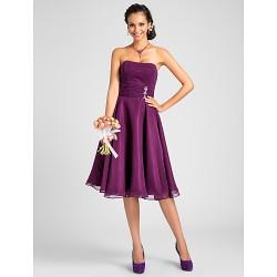 Knee Length Chiffon Bridesmaid Dress Grape Plus Sizes Petite A Line Princess Strapless