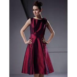 Knee Length Taffeta Bridesmaid Dress Burgundy Plus Sizes Petite A Line Princess Bateau