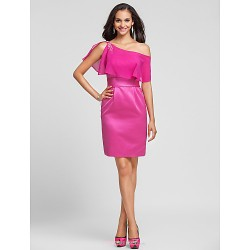 Knee Length Satin Chiffon Bridesmaid Dress Fuchsia Plus Sizes Petite Sheath Column One Shoulder Spaghetti Straps