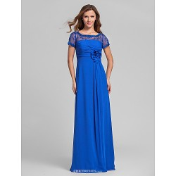 Floor Length Chiffon Bridesmaid Dress Royal Blue Plus Sizes Petite A Line Square