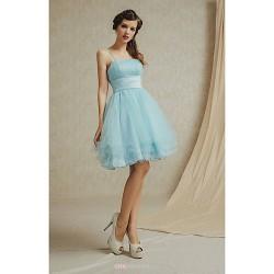 Knee Length Lace Satin Bridesmaid Dress White Champagne Sky Blue Lilac Sage A Line Spaghetti Straps