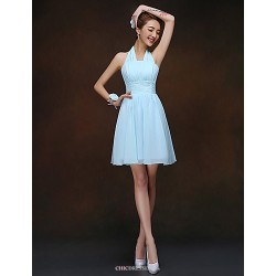 Short Mini Bridesmaid Dress Sky Blue Sheath Column Halter