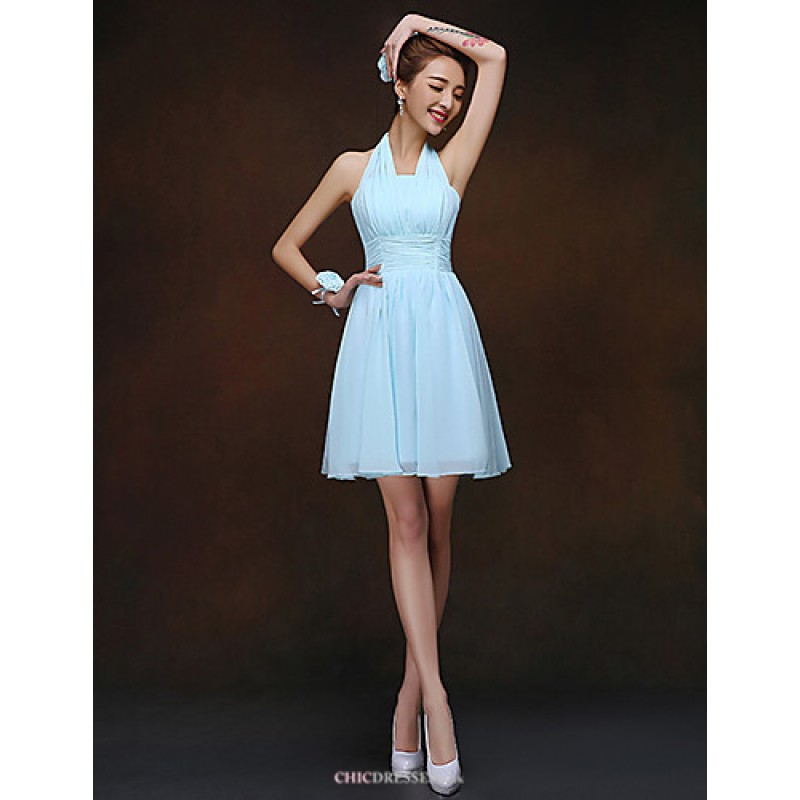 bab884c46b7cd Short Mini Bridesmaid Dress - Sky Blue Sheath Column Halter Bridesmaid  Dresses