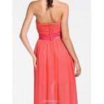 Asymmetrical / Short/Mini Chiffon Bridesmaid Dress - Watermelon Plus Sizes / Petite A-line / Princess Strapless / Sweetheart Bridesmaid Dresses
