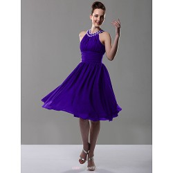 Knee-length Chiffon Bridesmaid Dress - Regency Plus Sizes / Petite A-line / Princess Jewel