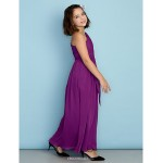 Ankle-length Chiffon Junior Bridesmaid Dress - Grape A-line One Shoulder Junior Bridesmaid Dresses