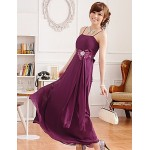 Ankle-length Chiffon Bridesmaid Dress - Grape / Sage / Champagne A-line Spaghetti Straps Bridesmaid Dresses